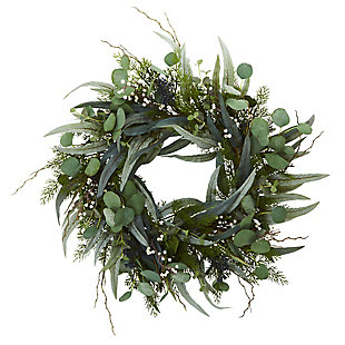 "Home Accents 24"" Eucalyptus and Mixed Greens Artificial Wreath, , rollover"