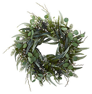 """Home Accents 24"""" Eucalyptus and Mixed Greens Artificial Wreath, , large"""
