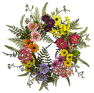 Home Accents Mixed Flower Wreath, , large