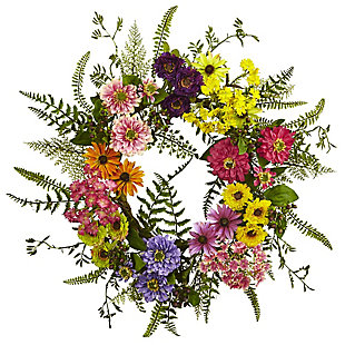Home Accents Mixed Flower Wreath, , rollover