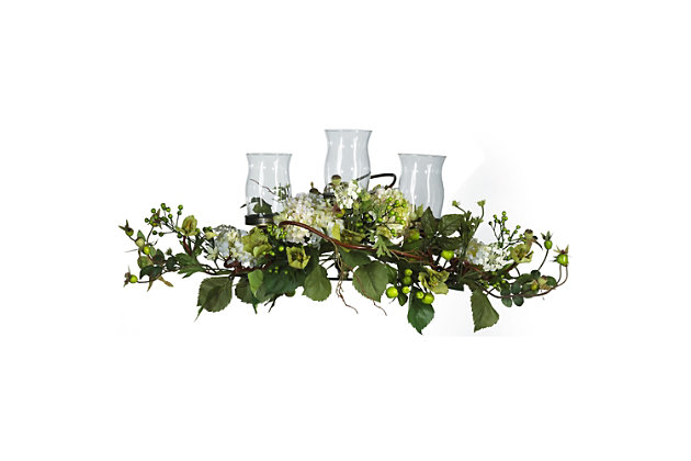 Home Accents Hydrangea Triple Candleabrum Centerpiece, , large