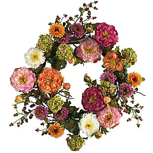 "Home Accents 24"" Mixed Peony Wreath, , rollover"