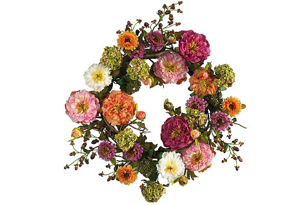 """Home Accents 24"""" Mixed Peony Wreath, , large"""