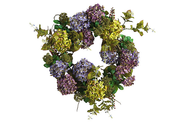 "Home Accents 24"" Mixed Hydrangea Wreath, , large"