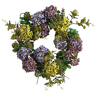 "Home Accents 24"" Mixed Hydrangea Wreath, , rollover"