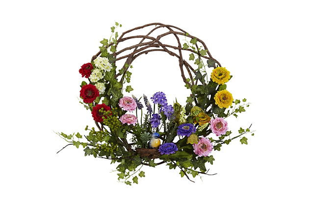 """Home Accents 22"""" Spring Floral Wreath, , large"""