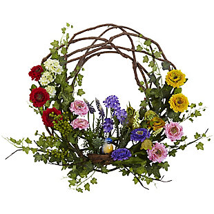 """Home Accents 22"""" Spring Floral Wreath, , rollover"""