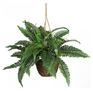 Home Accents Boston Fern Silk Hanging Basket, , large