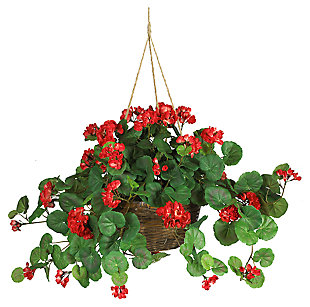 Home Accents Geranium Hanging Basket Silk Plant, , large