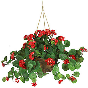 Home Accents Geranium Hanging Basket Silk Plant, , rollover