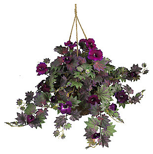 Home Accents Morning Glory Hanging Basket Silk Plant, , large