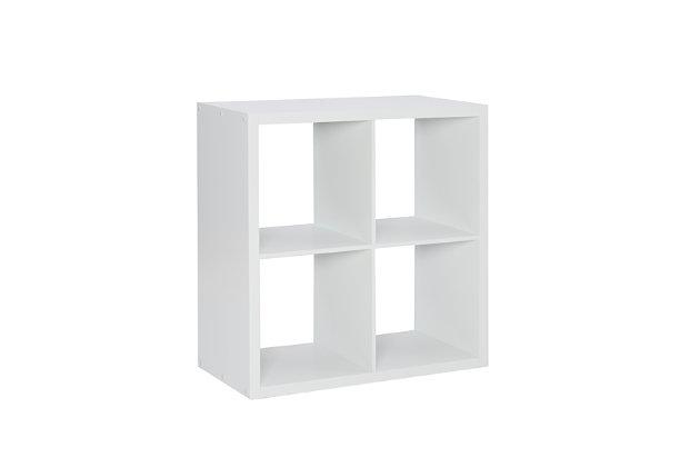 Four Cube Gwen Storage Shelf, White, large