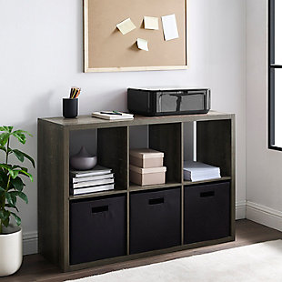Six Cube Gwen Storage Shelf, Ash Gray, large