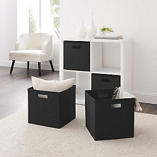 Foldable Gwen Storage Bin (Set of 2), Black, large