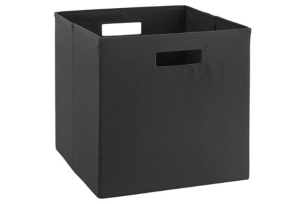 Foldable Gwen Storage Bin (Set of 2), Black, large