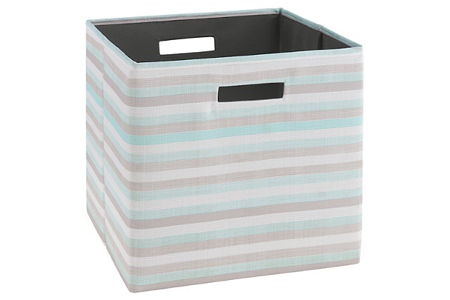 Foldable Gwen Storage Bin (Set of 2), Aqua/Ash Gray/White, large