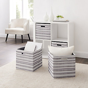Foldable Gwen Storage Bin (Set of 2), Ash Gray/White, large
