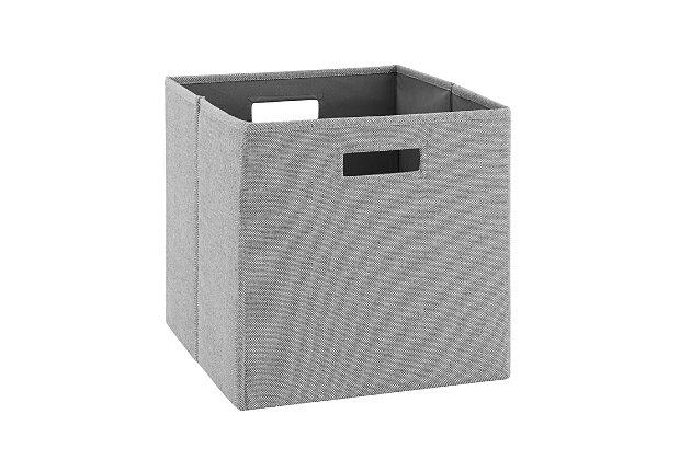 Foldable Gwen Storage Bin (Set of 2), Ash Gray, large