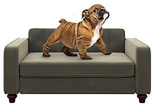 Ollie & Hutch Pin Tufted Pet Sofa with Small to Medium Bed, Gray, large