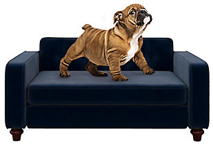 Ollie & Hutch Pin Tufted Pet Sofa with Smal to Medium Bed, Blue, large