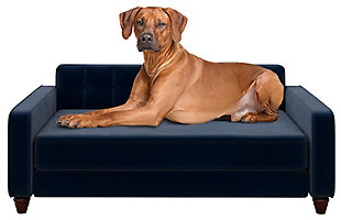 Ollie & Hutch Pin Tufted Pet Sofa with Large Bed, Blue, large