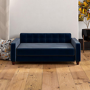 Ollie & Hutch Pin Tufted Pet Sofa with Large Bed, Blue, rollover