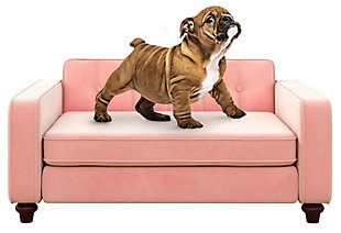 Ollie & Hutch Pin Tufted Pet Sofa with Small to Medium Bed, Pink, large
