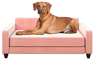 Ollie & Hutch Pin Tufted Pet Sofa with Large Bed, Pink, large