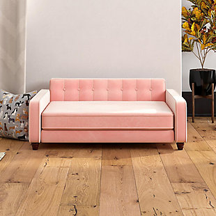Ollie & Hutch Pin Tufted Pet Sofa with Large Bed, Pink, rollover