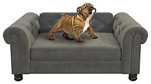 Ollie & Hutch Felix Pet Sofa with Small to Medium Bed, Gray, large