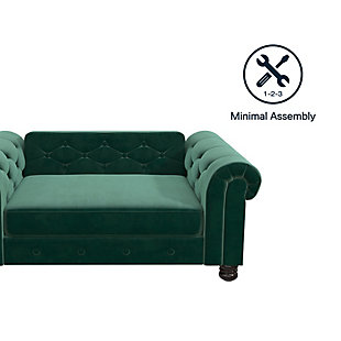 Ollie & Hutch Felix Pet Sofa with Small to Medium Bed, Green, large