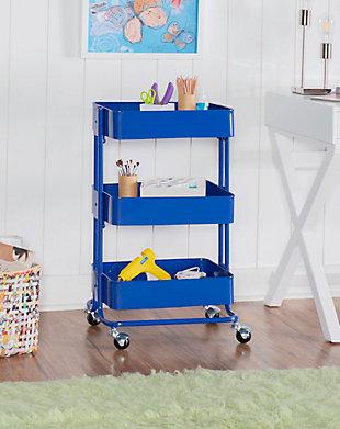 Three Tier Blue Metal Cart, Royal Blue, rollover
