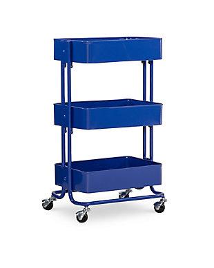Three Tier Blue Metal Cart, Royal Blue, large