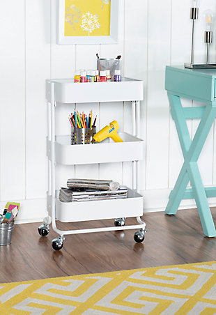 Three Tier White Metal Cart, White, rollover
