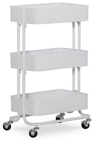 Three Tier White Metal Cart, White, large