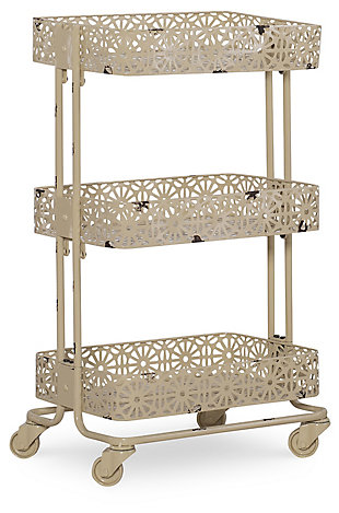 Metal Three Tier Cart, Cream, large