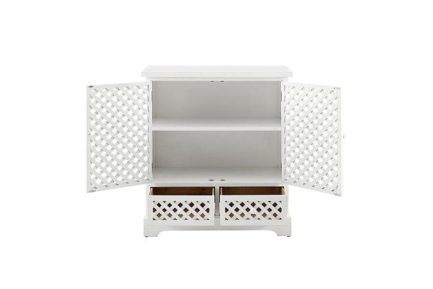 2 Door 2 Drawer Cabinet White, , large