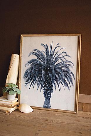 Navy Blue Palm Tree Print Under Glass Wall Art, , rollover