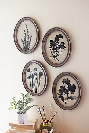 Oval Botanical Prints Under Glass Wall Art (Set of 6), , rollover