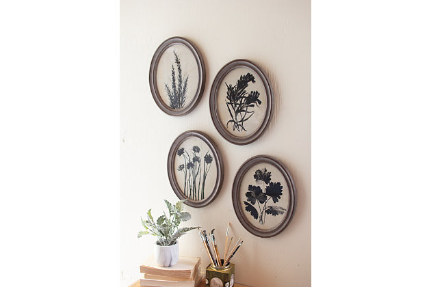 Oval Botanical Prints Under Glass Wall Art (Set of 6), , large