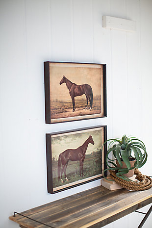 Wall Art Horse Prints Under Glass (Set of 2), , rollover