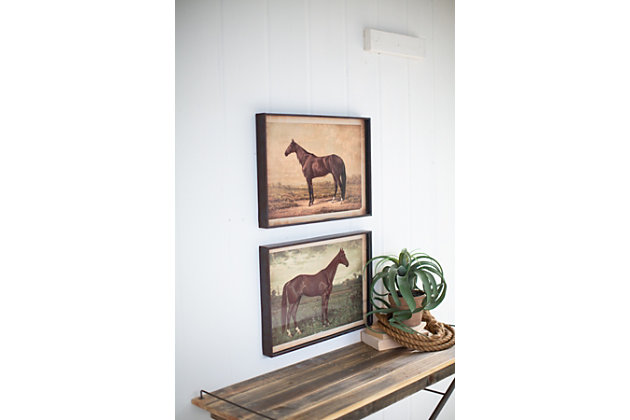 Wall Art Horse Prints Under Glass (Set of 2), , large