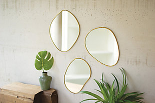 Brass Framed Organic Shaped Mirror (Set of 3), , large