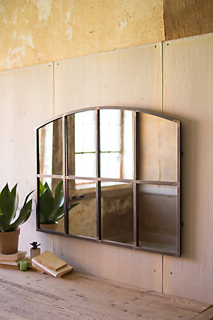 Arched Metal Wall Mirror, , large
