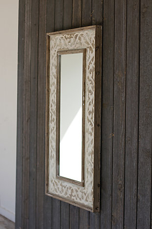 Wooden Framed Mirror With Fluer De Lis Detail, , large