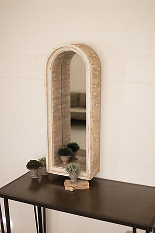 Wooden Arched Frame Mirror, , rollover