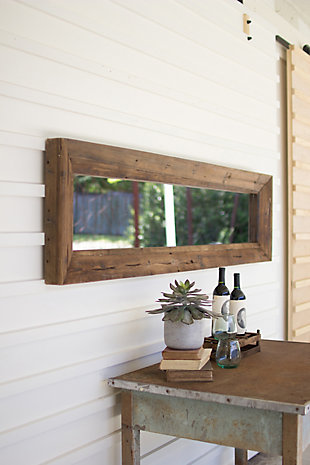 Rectangle Mirror With Recycled Wood Frame, , large