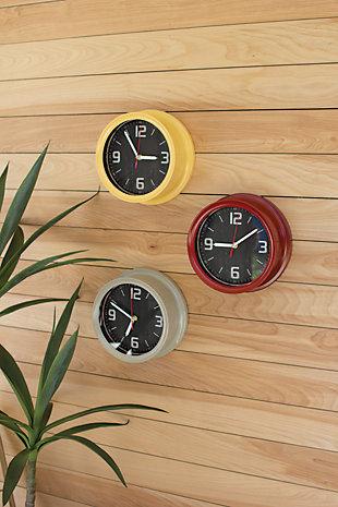 Painted Iron Wall Clocks (Set of 3), , large
