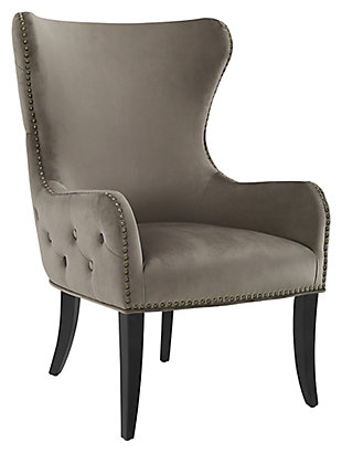 Dark Gray Chaplin Round Back Chair, Gray, large