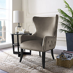 Dark Gray Chaplin Round Back Chair, Gray, rollover